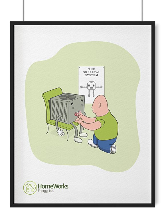 What is creative agency without silly illustrations like this one of a heating and cooling unit