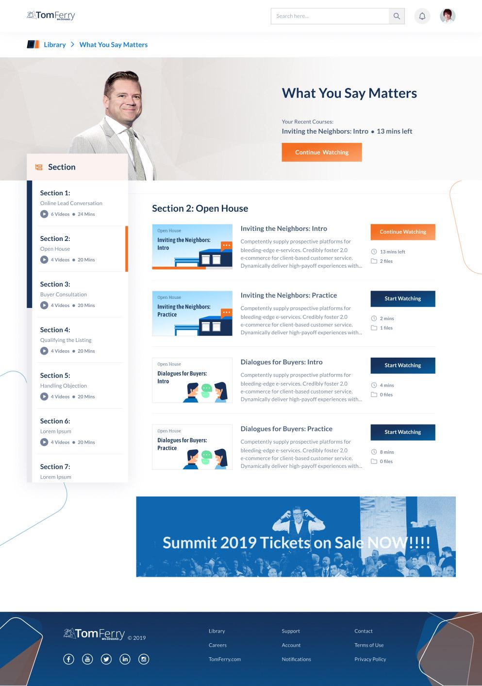 Desktop shot of our client's website to design