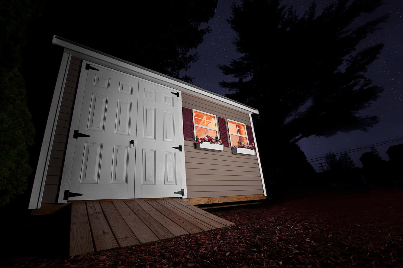 Nighttime photography of a shed, shot on-site